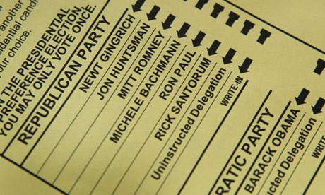 Ballot paper in Wisconsin