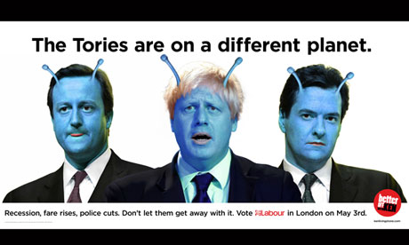 A poster attacking Boris Johnson and the Tories produced by Ken Livingstone's campaign.