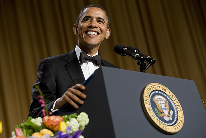 White House dinner: President Barack Obama smiles while delivering remarks