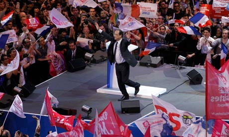 Francois Hollande at a campaign rally in Paris.