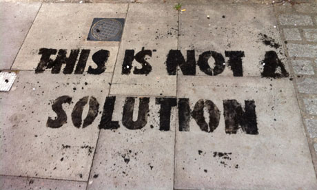 Graffiti on Boris Johnson's front step with soot