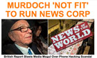 Rupert Murdoch 'not fit to run major firm' Huffington Post headline