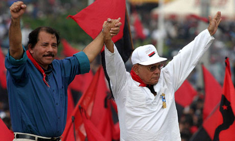 Tomás Borge, right, with Daniel Ortega