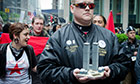 Trail Occupy May Day: WTC first responder Walter Hillegass from New York marches with protesters