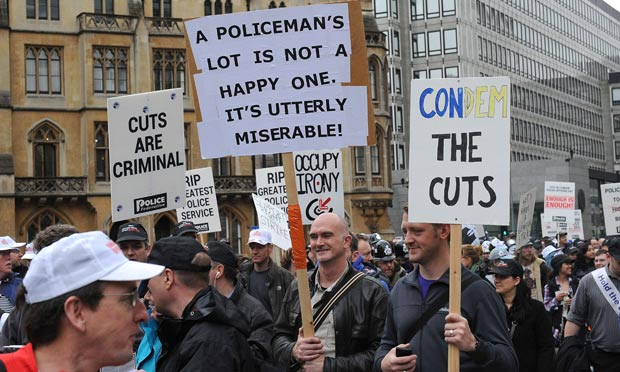 Police protest against cuts in London on 10 May 2012.