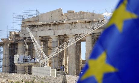 European flag in front of the Parthenon