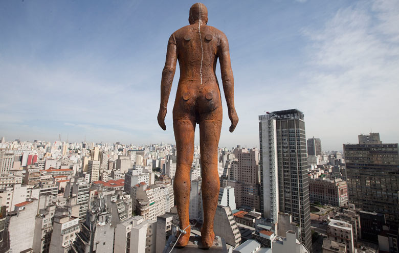 Gormley statue in Sao Paulo, Brazil