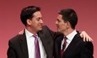 David and Ed Miliband embrace