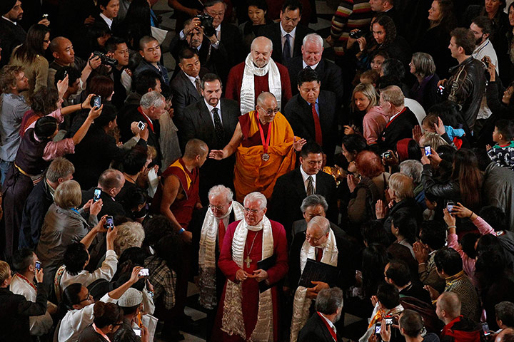 Dalai Lama visits UK: The Dalai Lama leaves after being awarded the Templeton Prize
