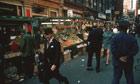 Fruit and veg stalls in Soho, 1970