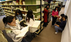 Chinese students in a university library