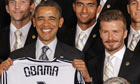 David Beckham with the US president, Barack Obama, earlier this week