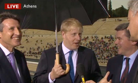 Sebastian Coe, Boris Johnson and Hugh Robertson at the Panathenaic Stadium in Athens on 17 May 2012.