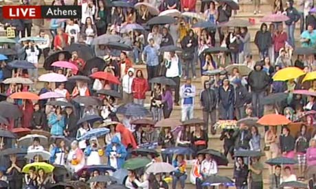 The crowd at the Panathenaic Stadium for the passing of the Olympic flame from Greece to London