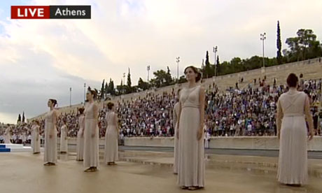 Actresses playing priestesses at the Olympic torch handover on 17 May 2012.