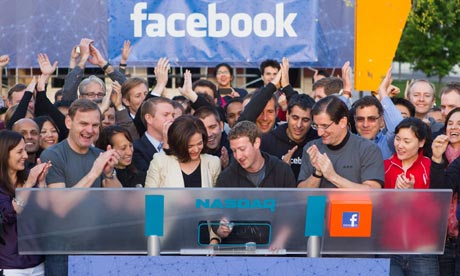 Mark Zuckerberg remotely rings the Nasdaq bell