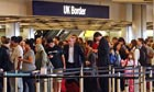 Queues at border control at Heathrow airport