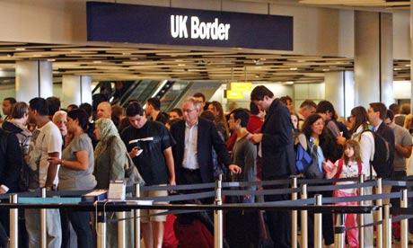 Queues at border control at Heathrow airport