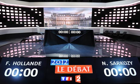 The set for the French presidential debate on 1 Mary 2012.