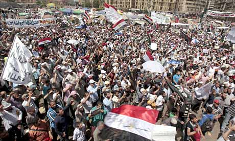 Egyptians demonstrating in Tahrir Square