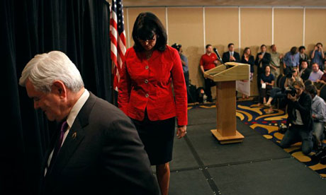 Newt Gingrich leaves stage