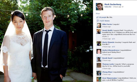 Priscilla Chan and Mark Zuckerberg in their wedding photo posted on Facebook