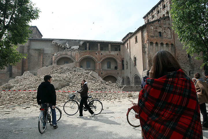 earthquake in italy: debris in finale emilia