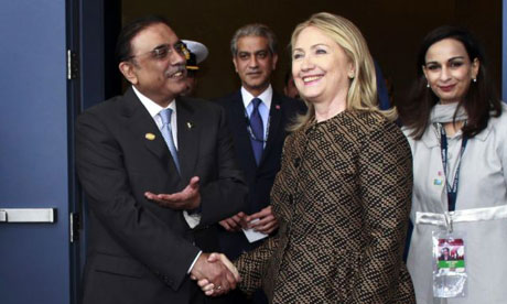 Asif Ali Zardari has met the US secretary of state, Hillary Clinton, at the Nato summit but Obama will not sit down with Pakistan's president.