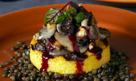 Polenta with wild mushrooms, hazelnuts and figs. Photograph: Emily ...