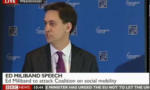 Ed Miliband delivering his speech on social mobility on 21 May 2012.