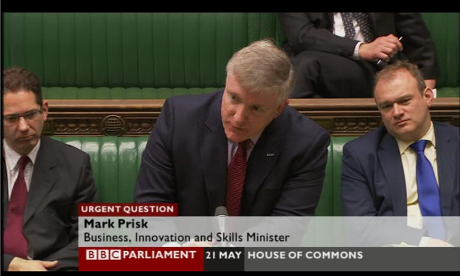 Mark Prisk, the business minister, taking questions on the Beecroft report in the Commons.