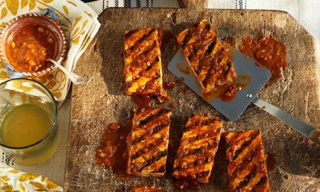 Seared tofu with date barbecue sauce
