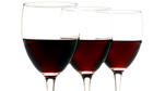 Three glasses of red wine on a white background