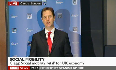 Nick Clegg speaking on social mobility on 22 May 2012.