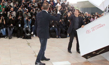 Actor Benoit Poelvoorde and director Albert Dupontel at the photocall of Le Grand Soir