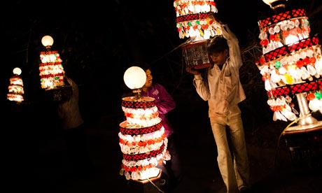 Light wallas at an Indian wedding