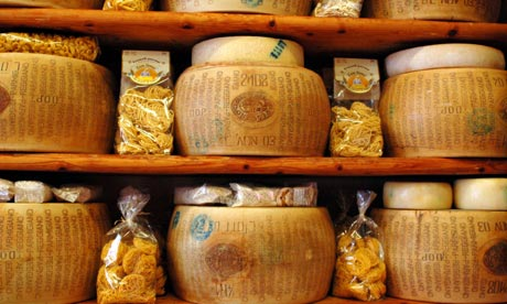 Rounds of parmesan cheese