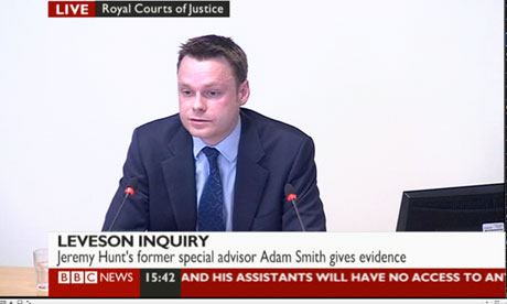 Adam Smith giving evidence to the Leveson inquiry.