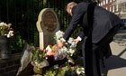 Libya's prime minister lays a wreath at the s