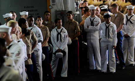 US marines and navy personnel on the USS Wasp during Fleet Week.