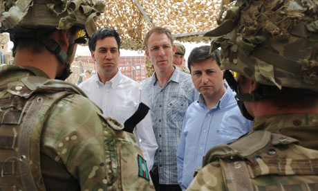 Ed Miliband, Jim Murphy and Douglas Alexander talk to soldiers