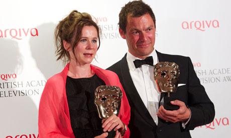 Bafta TV award winners Emily Watson and Dominic West,