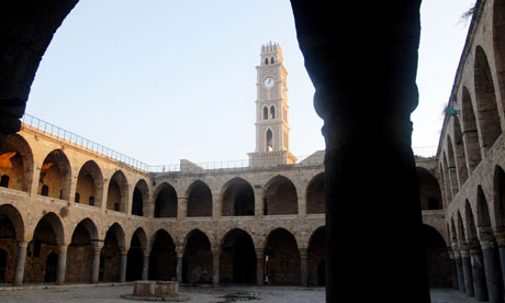 Han El Umdan clock tower in Acre, Israel