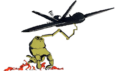 Drone warfare: illustration by Belle Mellor