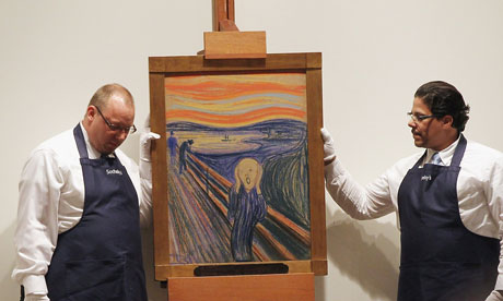 The Scream sells for record $120m at auction Edvard Munch's painting bought by unnamed telephone bidder during auction at Sotheby's in New York