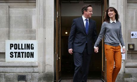 David and Samantha Cameron leave a polling station on 3 May 2012.