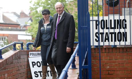 Ken Livingstone and his wife Emma Beal at a polling station in London on 3 May 2012.