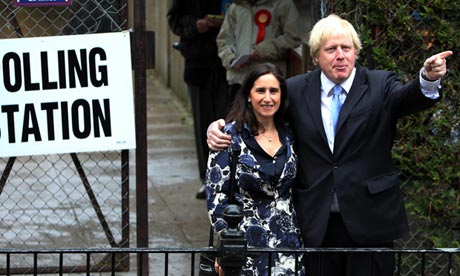 Boris Johnson and his wife Marina Wheeler leave their a polling station in London  3 May 2012.