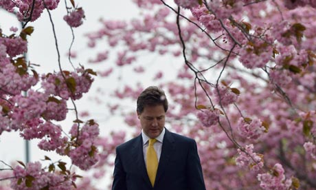 Nick Clegg arrives to vote at a polling station in Sheffield on 3 May 2012.