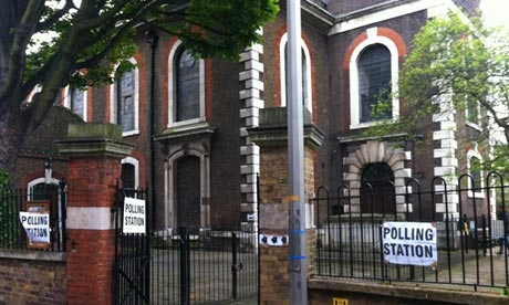 St Mary's polling station in Rotherhithe, London on 3 May 2012.